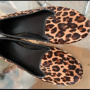 Cole Haan calf hair leopard print loafers